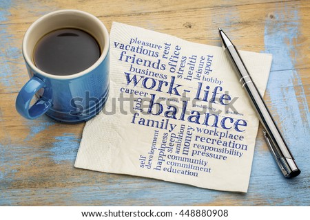 work life balance word cloud - handwriting on a napkin with a cup of coffee - stock photo