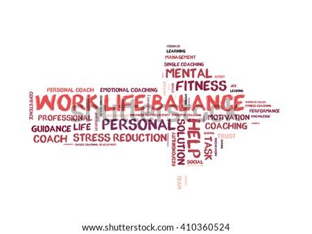 Work life Balance word cloud shaped as a arrow - stock photo