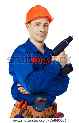 Work man in work wear with instrument in studio against white background - stock photo