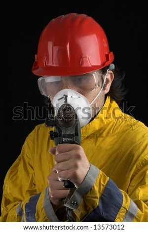 work man with electric tool - stock photo