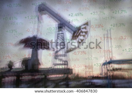 Work of oil pump jack on a oil field and finance analytics background. Textured concrete grunge, blurred motion. Numbers, figures. Concept oil and gas crisis.