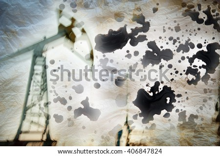 Work of oil pump jack on a oil field. Drops crude oil background. Texture grunge paper. Blurred motion. Concept oil and gas industry.