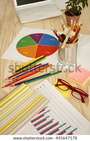 Work office desk - stock photo