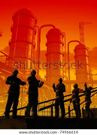 Work on the background of the interior of the plant. - stock photo
