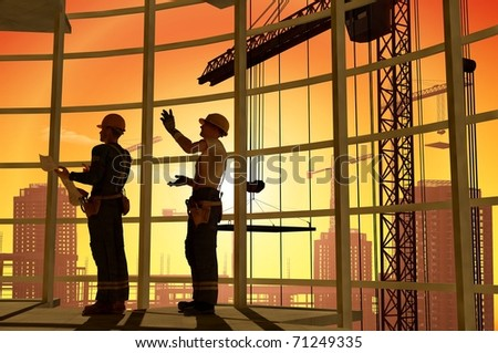 Work on the construction at night - stock photo