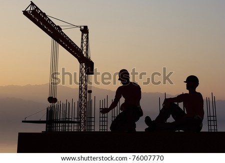 Work on the construction at night