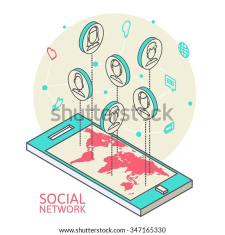 Work on the internet. Isometric illustration. Communication on the web. Social connections worldwide. Communication by mobile phone. Teamwork on the web. Social networks. - stock photo
