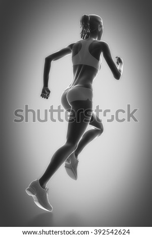 Work out and fitness concept - running - stock photo