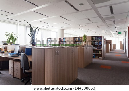 Work place in the huge office building centre - stock photo