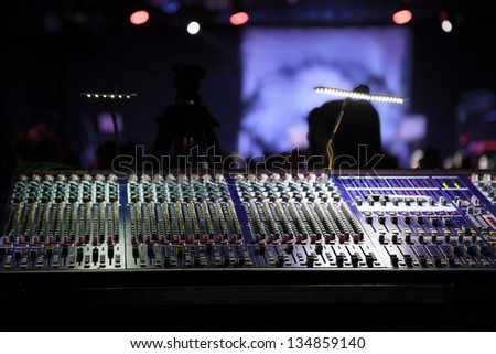 work place sound engineer's. mixing console. - stock photo