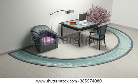 Work room and Pool Tree Pink Sofa / 3d rendering image Non brand,sketches.All completely new design  - stock photo
