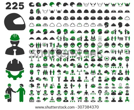 Work Safety and Helmet Icon Set. These flat bicolor icons use green and gray colors. Glyph images are isolated on a white background.  - stock photo