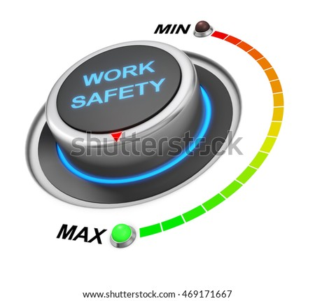 work safety button position. Concept image for illustration of work safety in the highest position , 3d rendering
