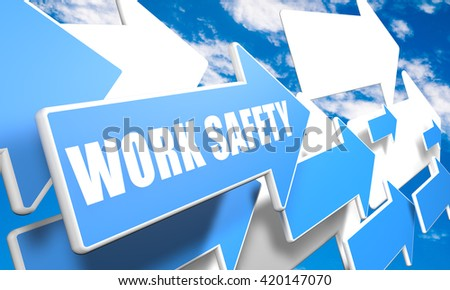 Work Safety 3d render concept with blue and white arrows flying in a blue sky with clouds - stock photo