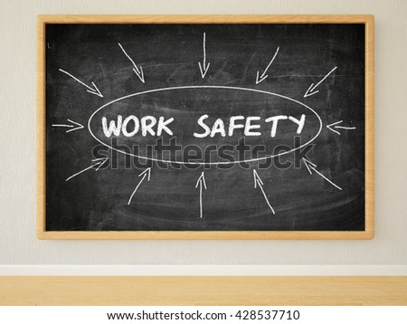 Work Safety - 3d render illustration of text on black chalkboard in a room. - stock photo
