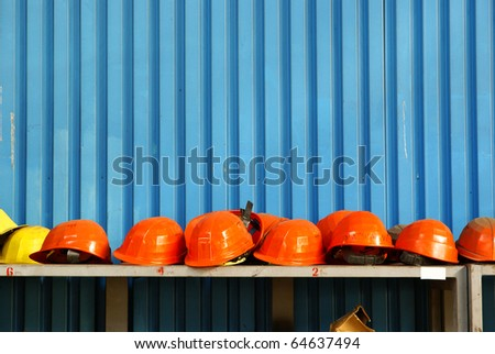 Work safety helmets in industrial site. - stock photo