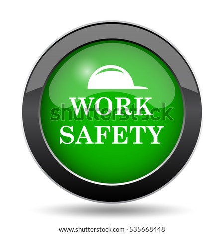 Work safety icon, green website button on white background.