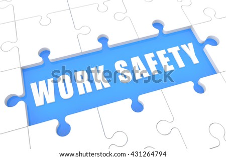 Work Safety - puzzle 3d render illustration with word on blue background - stock photo