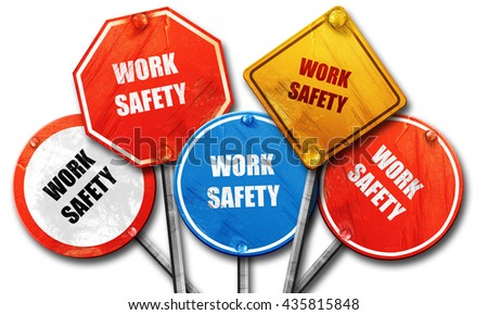 Work safety sign, 3D rendering, rough street sign collection - stock photo