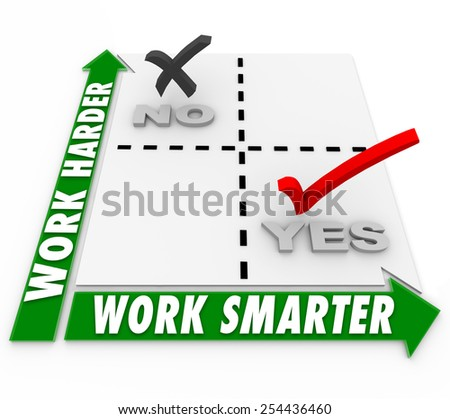 Work Smarter Vs Harder words on a matrix to illustrate choices in job or task efficiency or productivity - stock photo