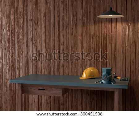 work table of a carpenter on wooden wall background - stock photo