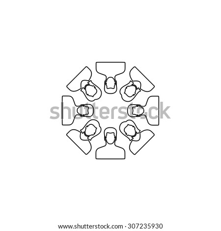 Work team concept. Outline black simple symbol - stock photo