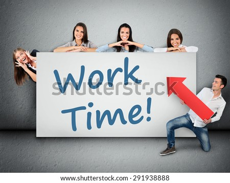 Work time word writing on white banner - stock photo