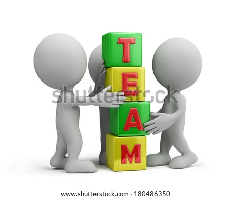 Work together as a team. 3d image. White background. - stock photo