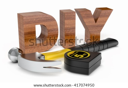 work tools and the word: diy, on white background (3d render)