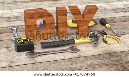 work tools on wooden background, concept of diy (3d render)