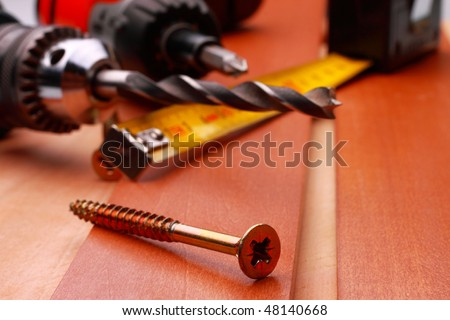 Work tools on wooden table