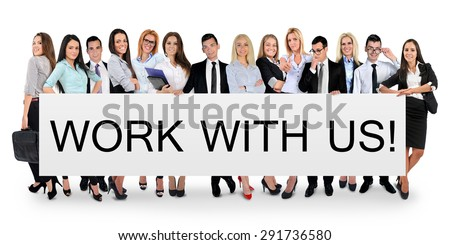 Work with us word writing on white banner