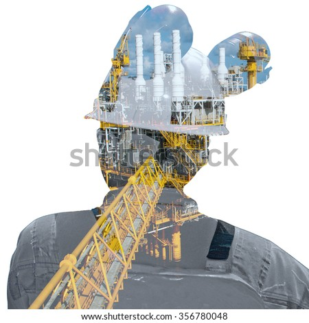 worker and oil rig double exposure concept - stock photo