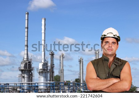 worker and petrochemical plant oil industry - stock photo