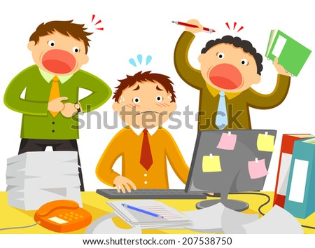 worker being stressed out by noisy colleagues and too much work - stock photo