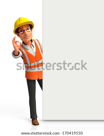 Worker best sign with sign - stock photo