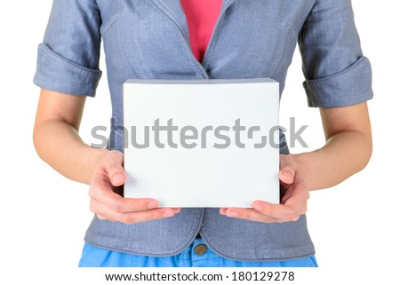 Worker carrying closed cardboard box isolate on white background - stock photo