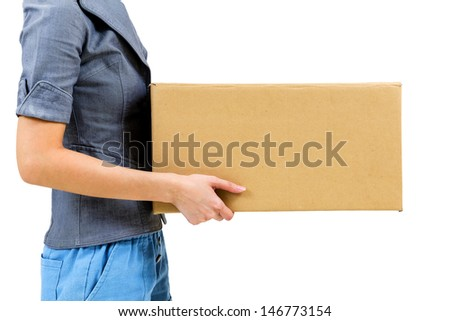 Worker carrying closed cardboard box isolated on white background