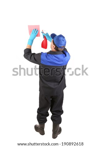 Worker cleaning something. Isolated on a white background. - stock photo
