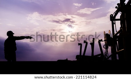 Worker construction silhouette - stock photo