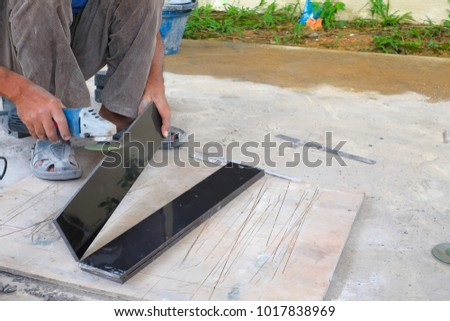 Worker Cutting Floor Tiles Angle Grinder Stock Photo Royalty Free
