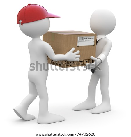 Worker delivering a package to a businessman - stock photo