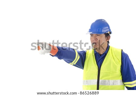 Worker giving direction with blowing whistle on white background - stock photo