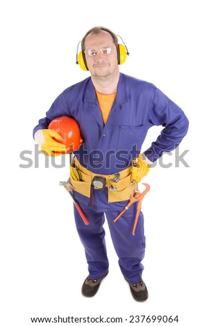 Worker holding hard hat. Isolated on a white background. - stock photo