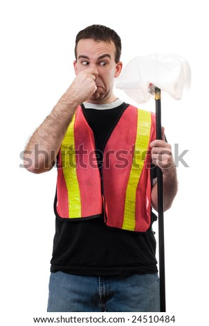 Worker holding his nose because of the smell of old garbage, isolated against a white background