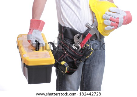 Worker holding tool box for service something.