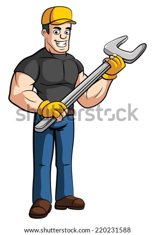 Worker holding Wrench - stock photo