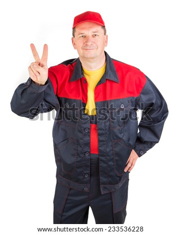 Worker in a good mood. Isolated on a white background. - stock photo