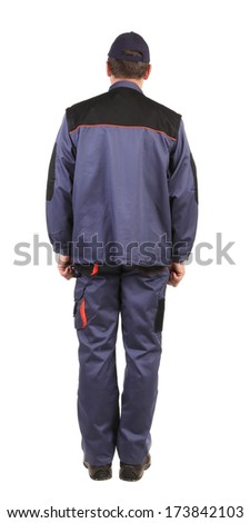 Worker in blue uniform. Isolated on a white background.