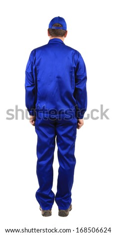 Worker in blue workwear. Back view. Isolated on a white background. - stock photo
